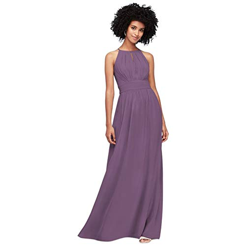 David's Bridal High-Neck Chiffon Bridesmaid Dress with Keyhole Style F19953, Wisteria, 0