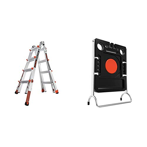 Little Giant Ladders, Revolution with Ratchet Levelers, M17, 17 ft, Multi-Position Ladder,Ratchet Leg levelers + Project Tray, Ladder Accessory, Plastic, 25 lbs Weight Rating
