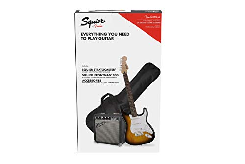 Fender Squier Stratocaster LRL Brown Sunburst + Frontman 10G + Tasche + Zubehör für E-Gitarre