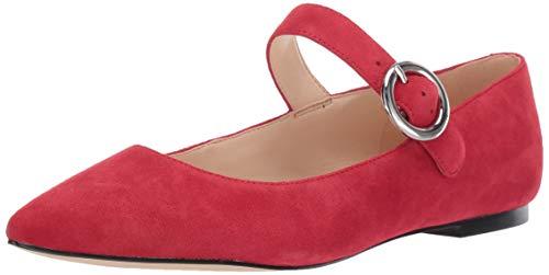 NINE WEST Damen Aimee Modischer Schuh mit flachem Absatz, rot, 43 EU