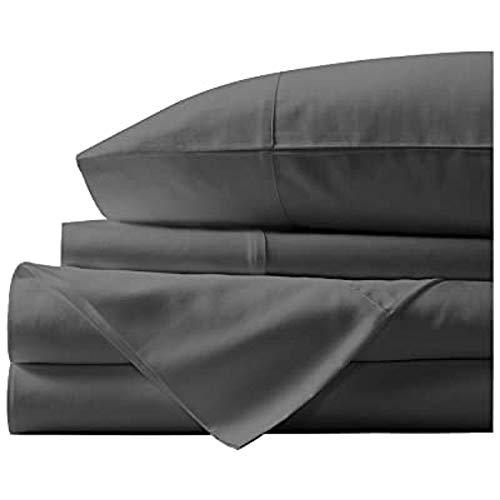 Exclusive Sheets - Juego de sábanas de 6 piezas de 40 cm de profundidad – 1000 hilos 100% algodón egipcio de grapas largas (Reino Unido – Tamaño Super King, gris elefante sólido)