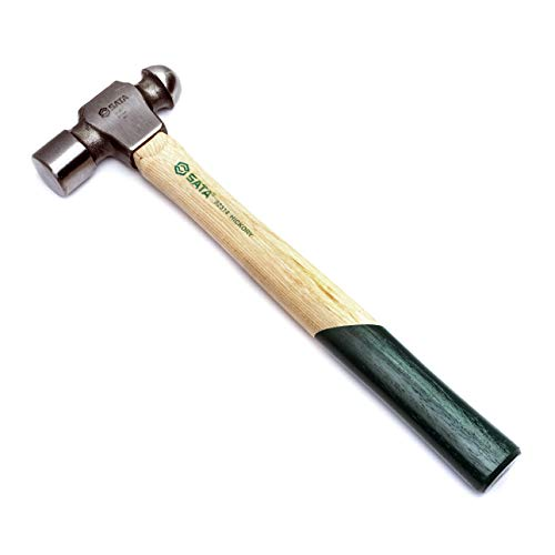 SATA Hickory Handle 2lb Ball Peen Hammer with Forged Steel Head and Green Nonslip Contoured Handle - ST92314SC