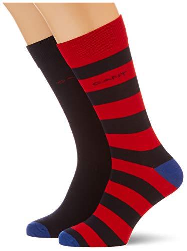 GANT Herren D1. Stripe and SOLID Socks 2-Pack, Bright RED, OneSize