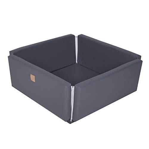 MEOWBABY 110x110x40cm Ökologischem Leder Quadrat Bällebad/Spielmatte 2in1 Ohne Bälle Baby Outdoor Spielbad Made In EU Grau