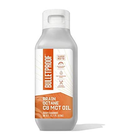 Brain Octane Premium C8 MCT Oil from Non-GMO Coconuts, 14g MCTs, 16 Fl Oz, Bulletproof Keto Supplement for Sustained Energy, Appetite Control, Mental & Physical Energy, Non-GMO, Vegan & Cruelty Free
