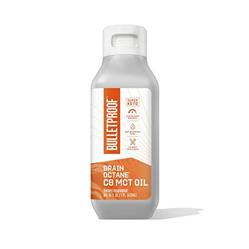 Bulletproof Brain Octane C8 MCT Oil from Coconut Oil Provides Mental and Physical Energy, Keto and Paleo Friendly, Made in USA, 16 Fl. Oz.