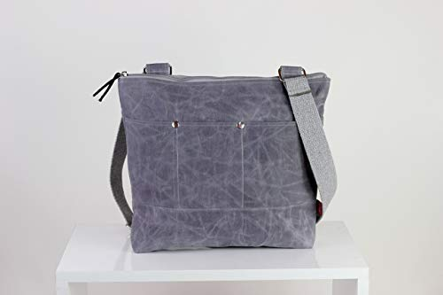 Gray waxed tote bag cross hang strap pocket on front full lining waterproof simple tote bag carry all gift idea different color available