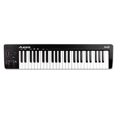Alesis Q49 MKII - 49-Tasten USB MIDI Keyboard Controller mit anschlagsdynamischen Synth-Action Tasten in Standardgröße und Musikproduktionssoftware