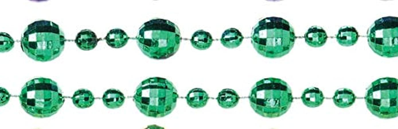 Darice Mardi Gras Green Beaded Necklace: Faceted, 6mm Beads, 33 inches, 12 pack