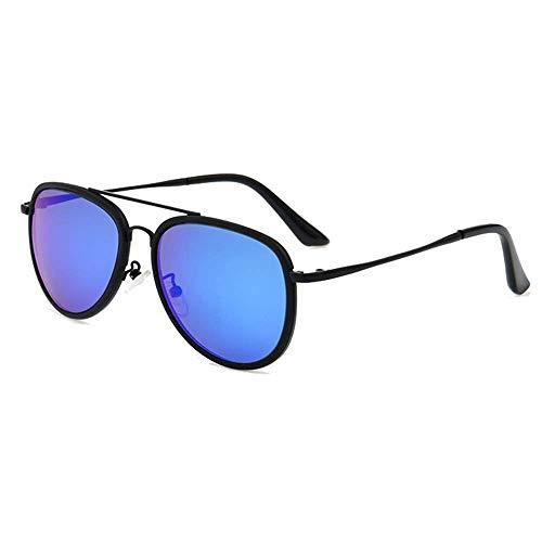 WWKDM1 Gafas de Sol UV400 Gafas de Sol polarizadas Retro Azules Gafas de Sol con Montura Masculina Espejo de Rana de Doble Haz