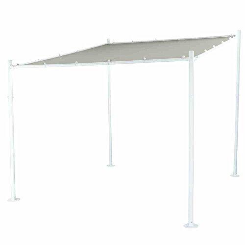 Siena Garden Pavillon Levino, 285x285x282cm, Gestell: Stahl, pulverbeschichtet in weiß, Dach: Polyester, 250g/m², PU beschichtet in hellgrau, Lichtschutzfaktor: UPF 50+