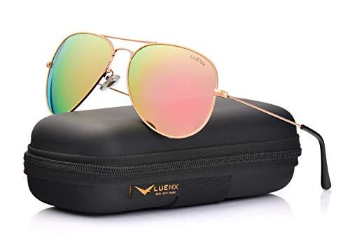 LUENX Hombre Mujer Aviador Polarizado gafas de sol con el caso - UV 400 Espejo de Protección Rosa Lente Marco de Dorado 60mm