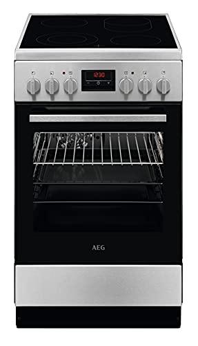 AEG CCB544COBM 50 cm Standherd mit Glaskeramik-Kochfeld / Bräterzone / Mehrkreiskochzone / Grillfunktion / Display mit Uhr / A