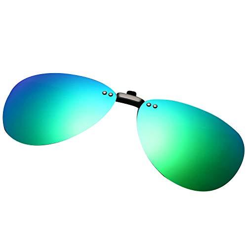 クリップオン オーバーサングラス 偏光レンズ uv400カット を防ぐ 超軽量 屋外の活動用 クリップオン 近視のためにと 偏光サングラス 跳ね上げ式 男女兼用 (青緑)