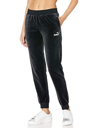 PUMA Women's Essentials+ Velour Pants, Cotton Black, L