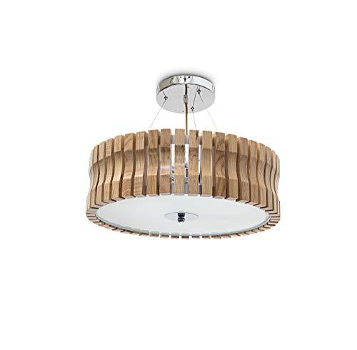 Relaxdays plafondlamp RINC klein, licht hout met melkglas voor aangenaam licht, 3-spots, in hoogte verstelbaar, H=14 Ø=45 cm, natuur