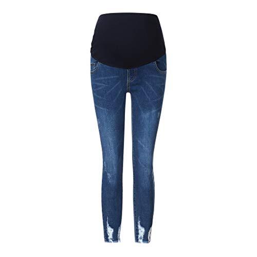Mujer Embarazada Pantalones Vaqueros Rasgados Pantalones de Maternidad Jeans Agujero Legging Elástico Ropa premamá de Apoya el Abdomen Invierno Primavera