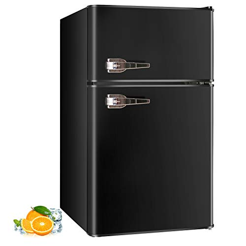 RMYHOME 3.2 Cu.ft Compact Refrigerator Double Door Mini Fridge with Top Door and Removable Glass Shelves, Beverage and Food Storage Cooler for Office, Dormitory, Home or Apartment (Black)