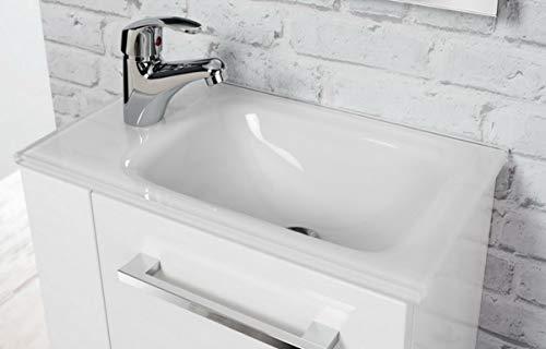 FACKELMANN Glasbecken Gäste-WC / Waschtisch aus Glas / Maße (B x H x T): ca. 45 x 10 x 25 cm / hochwertiges Waschbecken fürs Badezimmer / Farbe: Weiß / Breite: 45 cm