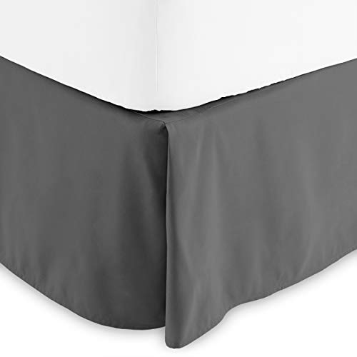 Bare Home Pleated Queen Bed Skirt - 15-Inch Tailored Drop Easy Fit - Bed Skirt for Queen Beds - Center & Corner Pleats (Queen, Grey)