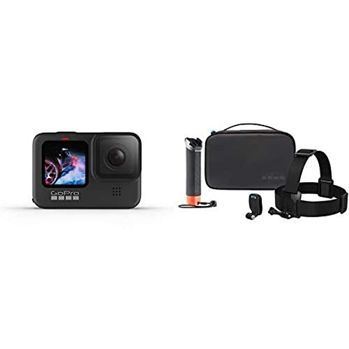 GoPro Hero9 Camera and Adventure Kit Bundle (Floating Hand Grip, Head Strap + Quick Clip)