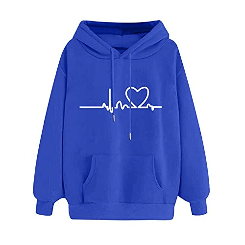 Sudadera de manga larga para mujer, con capucha, cuello redondo, manga larga, para otoño, túnica, para exterior, informal, manga larga, azul, S,