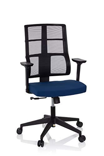 Preisvergleich Produktbild hjh OFFICE 810026 Profi Bürostuhl SPINIO Stoff Schwarz / Blau Büro Drehstuhl mit Netzrücken,  Rückenlehne höhenverstellbar