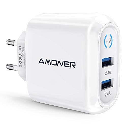 Amoner 24W 2.4A USB Ladegerät 2-Port Ladeadapter für iPhone, iPad, Android Cellphone mit USB Anschluss, Tablette mit USB Anschluss