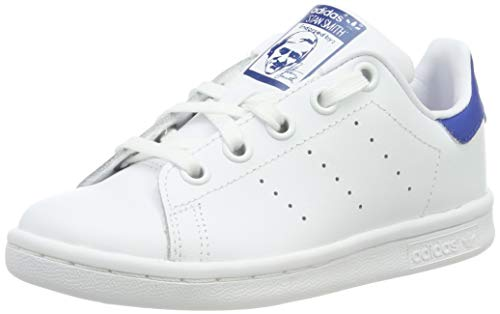 adidas Unisex-Kinder Stan Smith Basketballschuhe, Weiß (Footwear White/Footwear White/EQT Blue 0), 33 EU