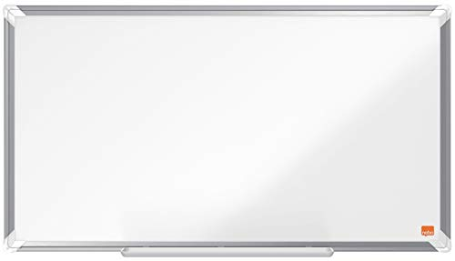 Nobo Emaille Whiteboard in Widescreen-Format, 40 x 71 cm, Aluminiumrahmen, Traditionelle Eckmontage, Inkl. Stiftablage, Premium Plus, Weiß, 1915365
