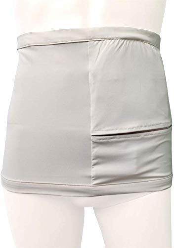Deodorizing Stomach Support Wrap with Ostomy Pouch Pocket (Beige, M (29.5-33.5 in))