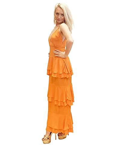 Lashes Vestido Maxi Escalonado con Volantes Y Cuello En V para Mujer Naranja 34-44 (34)