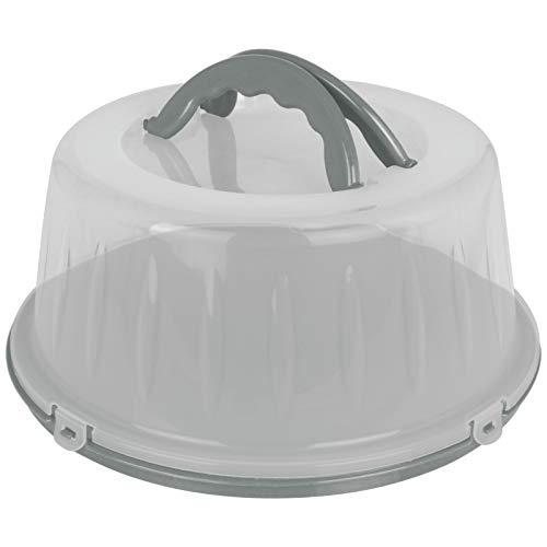 Kuchenhaube 33x15cm mit Farbwahl Tortenbehälter rund Kunststoff Tortenbox Kuchenbehälter Tortenglocke Transportbehälter Kuchen Torten Box (Grau)