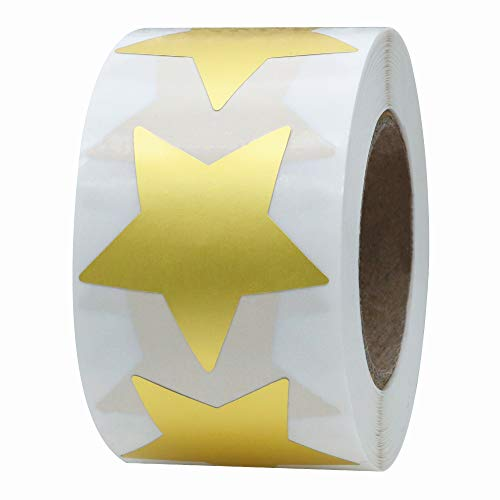 Hybsk Gold Star Stickers Metallic Foil Labels 1.5 Inch 500 Total Per Roll (Gold)