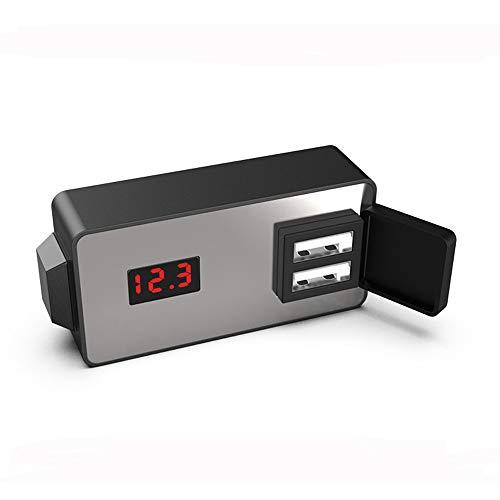 Wooya 12/24V Impermeable Multifuncional Moto Dual USB Teléfono Cargador Inteligente con Voltímetro De Reloj