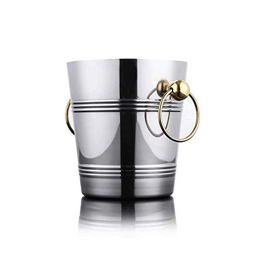 DZX Cubo de Hielo Midnight Luxe, Cubo de Hielo de Acero Inoxidable, Engrosamiento del Cubo de Hielo/Barra KTV/Cubo de champán Cubo de Hielo/Cerveza Cabeza de Tigre Grande Vino Tinto (Color: B, t