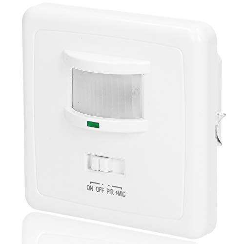 ORNO OR-CR-206 Interruptor de Luz con Sensor De Movimiento y Sensor de Sonido para Caja Eléctrica Øfi60, Compatible con LED de 1200 W máx. (Detector de movimiento y sonido)