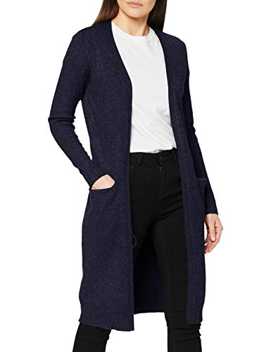 VILA CLOTHES Vila Clothes Damen VIRIL L/S Long Knit Cardigan-NOOS Strickjacke, Blau (Total Eclipse Detail:Melange), L