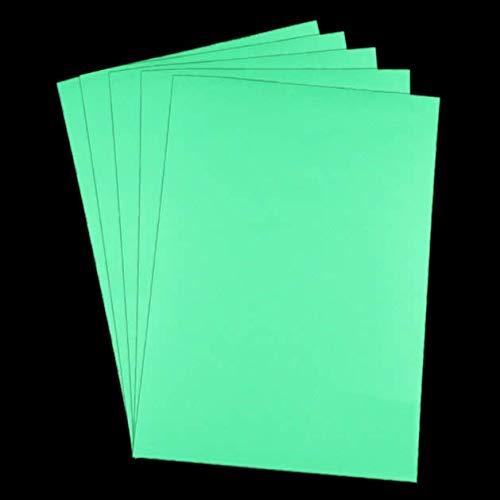 lumentics Premium Leuchtpapier Grün A4-5er Pack nachleuchtendes, bedruckbares Papier. UV Farbpapier zum Basteln. Im Dunkeln leuchtendes Bastelpapier für Kreativität, Dekoration, Spiel und Spaß.