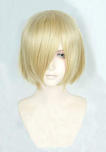 Anime Yuri! On Ice Yuri Plisetsky Yurio rubio corto, peluca de disfraz de Cosplay resistente al calor