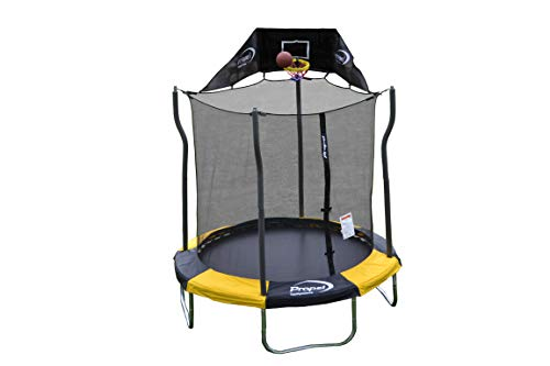 Propel Trampolines Indoor/Outdoor Trampoline with Enclosure, 7-Feet Round by 86-Inch Tall, Yellow...