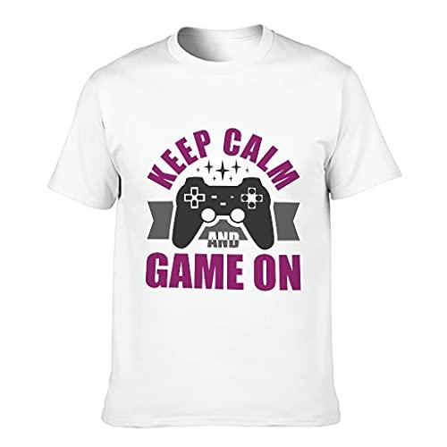 Camiseta Keep-Calm-Game-on Novedad Casual Hombres Mujeres Desgastado Camiseta para Novio Novia
