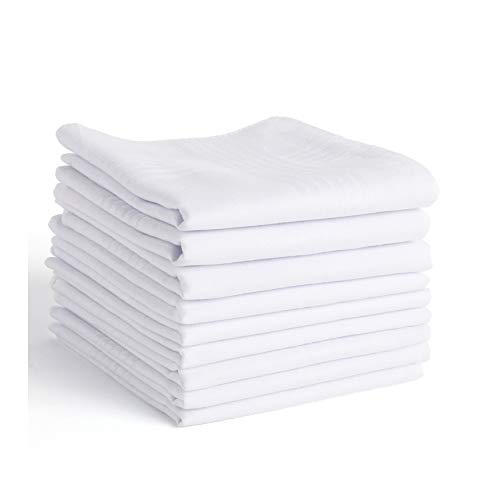 Handkerchiefs For Men,100% Soft Cotton White Hankie