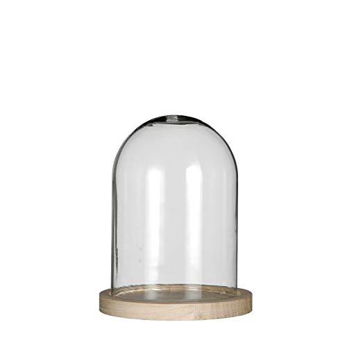 NaDeco Glasdom mit Holzsockel in 6 Größen Auswählbar Glas Dome Glashaube Glasstürze Glassturz Glaskuppel Glasglocke Dekoglas Glasdeko, Größe:h.16 cm Ø13 cm