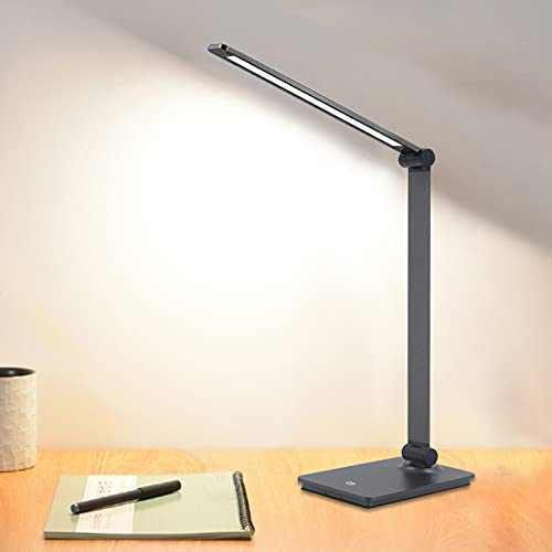 Led Desk Lamp with Wireless Charger, Versatile Desk Lamps for Home Office, 5 Color Modes, Adjustable Brightness Levels, Touch Control, 30/60 Min Timer, Memory Function, Modern Office Lamp (Grey)