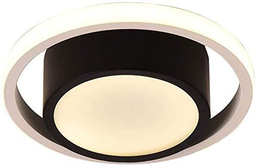 Lámpara de techo, Lámpara de techo LED 27W Luz blanca cálida 3000K Moderno techo redondo claro negro blanco Metal y acrílico Iluminación de techo Cuarto de baño Baño Balcón Balcón, D23CM ,lámpara de t