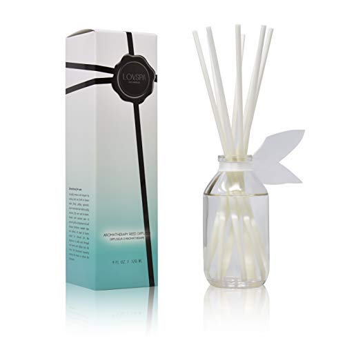 LOVSPA Summer Linen Reed Diffuser & Scent Sticks Gift Set - Fresh Soft Cotton, White Peach, Lavender & Coconut - Natural Essential Oils - Made in The USA