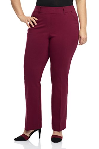 Rekucci Curvy Woman Ease into Comfort Barely Bootcut Plus Size Pant (22W,Burgundy)