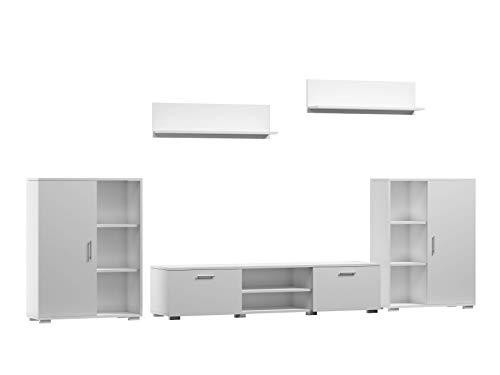 Per La Vita Wohnwand Herkules, Schrankwand Wohnzimmer Modern, Wohnzimmerschrank mit Fernsehtisch, Sideboard und Wandregal Wohnzimmer Komplett Möbel - Weiß