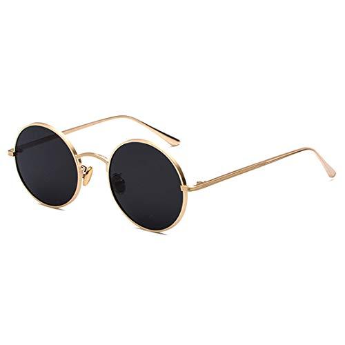 Inlefen Gafas de sol Hombres Mujeres Redondo Vintage Círculo estilo Gafas de sol Gafas de marco de metal de color Gafas oro negro